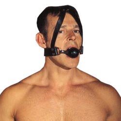 Leather Ball Gag & Head Harness