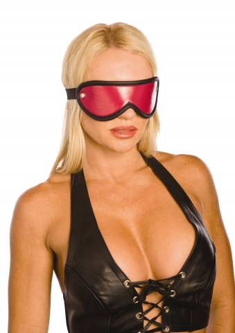 Pink and Black Leather Blindfold